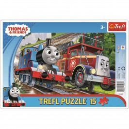 Puzzle Trefl Mašinka Tomáš v rámečku rámkové 15 dílků