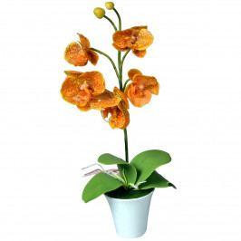 Umělá Orchidej v květináči oranžová, 35 cm