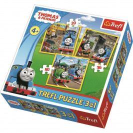 Puzzle Trefl 3v1 Mašinka Tomáš: Do akce! 20 36 50 dílků