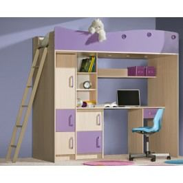 Patrová postel 80 cm - Famm - Milo bis fialová (s roštovou deskou)