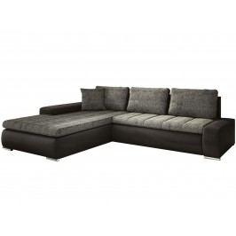 Rohová sedací souprava - Famm - Tivano tmavě šedá + koženka černá (L)