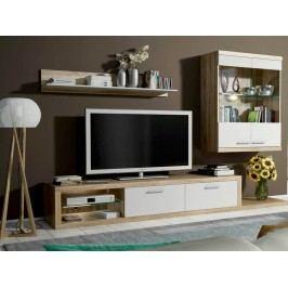 Obývací stěna - Famm - Dolores P6D1DS (sonoma + bílá) (s osvětlením)