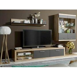 Obývací stěna - Famm - Dolores P6DUDS (sonoma + šedá) (s osvětlením)