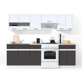 Kuchyně - BRW - Junona line 240 cm - lesk bílý + šedý wolfrám