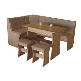 Jídelní set - Corner sonoma + hnědá (pro 5 osob)