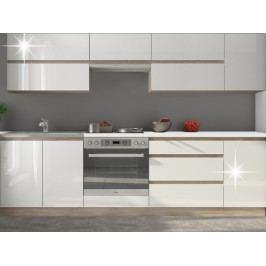 Kuchyně - Line 260 cm dub sonoma + lesk extra vysoký bílý
