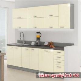 Kuchyně - Prado 260 cm šedá + lesk vysoký krémový