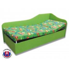 Jednolůžková postel (válenda) 80 cm - Važo - Anita (Vláček 4 + Zelená X101) (P)