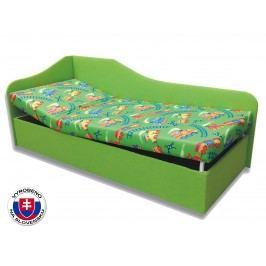 Jednolůžková postel (válenda) 90 cm - Važo - Anita (Vláček 4 + Zelená X101) (L)