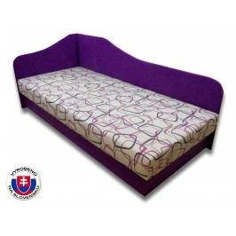 Jednolůžková postel (válenda) 80 cm - Važo - Lux 87 (Fialová 49 + Dodo 1058) (L)