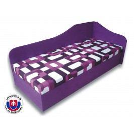 Jednolůžková postel (válenda) 80 cm - Važo - Lux 87 (Fialová 49 + Gusto 10) (P)