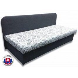 Jednolůžková postel (válenda) 80 cm - Važo - Lux IV (Šedá 81 + Elite 04 šedé růže)