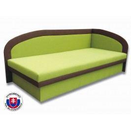 Jednolůžková postel (válenda) 80 cm - Važo - Melinda (Devon 001 zelená + Devon 009 hnědá) (P)