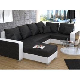 Rohová sedačka U - Palio (bílá + černá) (P)