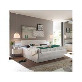 Manželská postel 180 cm - Kentucky (s LED osvětlením a 2 ks. noč. stolky) (dub bílý + bílá)