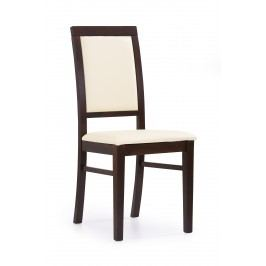 Jídelní židle - - Sylwek 1 (ořech tmavý + krémová)
