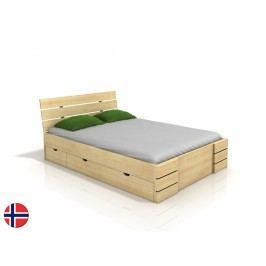 Manželská postel 160 cm - Naturlig - Lorenskog High Drawers (borovice) (s roštem)