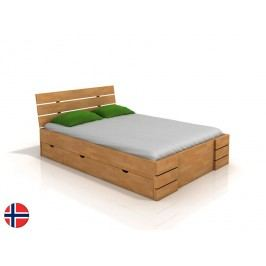 Manželská postel 160 cm - Naturlig - Lorenskog High Drawers (buk) (s roštem)