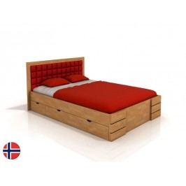 Manželská postel 180 cm - Naturlig - Storhamar High Drawers (buk) (s roštem)