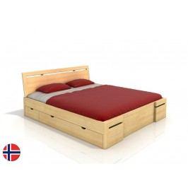 Manželská postel 200 cm - Naturlig - Bokeskogen High Drawers (borovice) (s roštem)