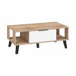 Konferenčný stolek Sven SVN-05 (dub sonoma světlá + bílý lesk)