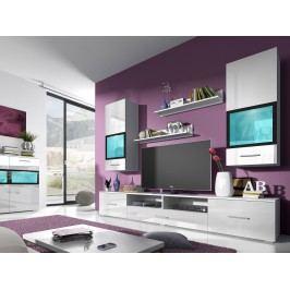 Obývací stěna Sapphire Typ 09 (bílá + bílý lesk)