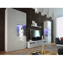 Obývací stěna Nivel I (bílá + lesk bílý) (s osvětlením)