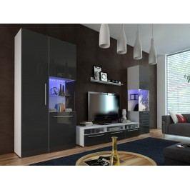 Obývací stěna Nivel I (bílá + lesk černý) (s osvětlením)