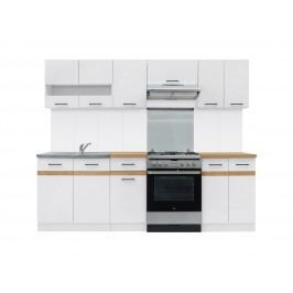Kuchyně BRW Junona line 240 cm lesk bílý + dub craft zlatý
