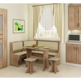 Rohový jídelní set - WIP - dub sonoma světlá + ekokůže béžová (s taburetkami) (pro 5 osob)