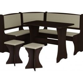 Rohový jídelní set - WIP - wenge + ekokůže (s taburetkami) (pro 5 osob)