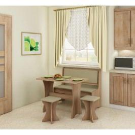 Jídelní set - WIP - dub sonoma světlá + ekokůže béžová (s taburetkami) (pro 4 osoby)