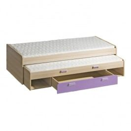 Rozkládací postel 80 cm - Ego - L16 fialová (se dvěma matracíi a rošty)