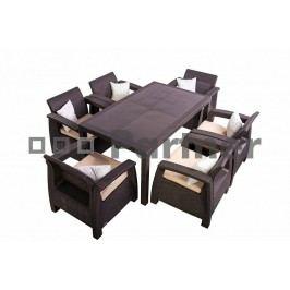 Zahradní nábytek - Deokork - Corfu Lounge Set II. 1+6 hnědá (um. ratan) *polštářky zad ZDARMA