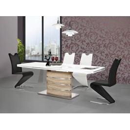 Jídelní stůl - Signal - Fano (lesk vysoký bílý + dub sonoma) (pro 6 osob až 8 osob)