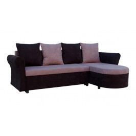 Rohová sedací souprava Darley s opěrkami černá šedá (2 úložné prostory, pěna) + polštáře