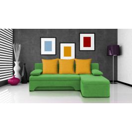 Rohová sedačka Saline zelená + žluté polštáře (1 úložný prostor, pěna)