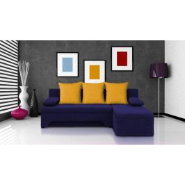 Rohová sedačka Saline tmavomodrá + žluté polštáře (1 úložný prostor, bonel)
