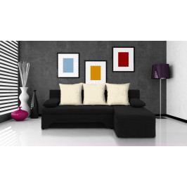 Rohová sedačka Saline černá + krémové polštáře (2 úložné prostory, bonel)