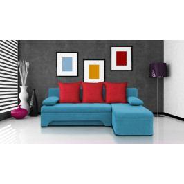 Rohová sedačka Saline modrá + červené polštáře (2 úložné prostory, bonel)