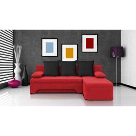 Rohová sedačka Saline červená + černé polštáře (2 úložné prostory, bonel)