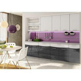 Kuchyň Sasha 260 cm (černá + bílá)