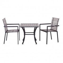 Zahradní nábytek Ronan 1+2 (světle šedá + černá)