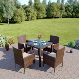 Zahradní nábytek Morton 1 + 4 (hnědá + krémová)