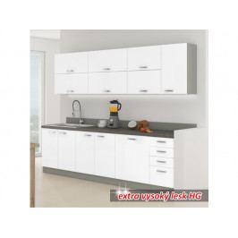 Kuchyně Prado 260 cm (šedá + extra vysoký lesk bílý)