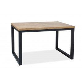 Jídelní stůl Loras II (masiv) (dub + černá) (pro 6 osob)