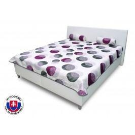 Manželská postel 180 cm - Benab - Mona fialová (s rošty a matracemi DUO FLEX)