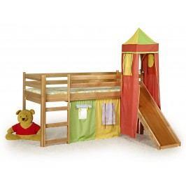 Patrová postel 80 cm - - Flo Olše (masiv, s roštem a matrací)