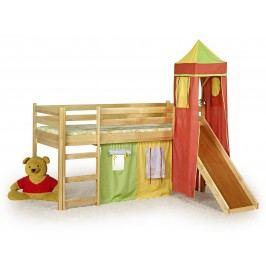 Patrová postel 80 cm - - Flo Borovice (masiv, s roštem a matrací)