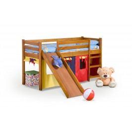 Patrová dětská postel se skluzavkou z masivu, 80 cm - - Neo Plus Olše (masiv, s roštem a matrací)